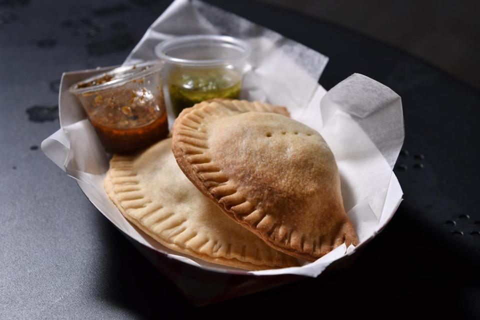 SOMERVILLE, 10/6/2018 - Oven baked Tuna Empanadas with salsas from Buena in Bow Market in Union Square, Somerville. Josh Reynolds for The Boston Globe (Lifestyle, morris)
